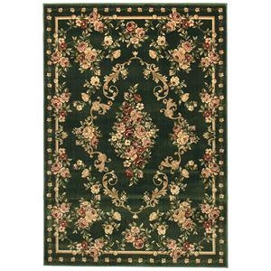 トルコ製 ラグマット/絨毯 【130cm×190cm グリーン】 長方形 高耐久 ウィルトン 『ロゼ』 〔リビング ダイニング〕