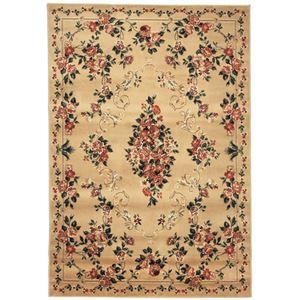 トルコ製 ラグマット/絨毯 【160cm×230cm ベージュ】 長方形 高耐久 ウィルトン 『ロゼ』 〔リビング ダイニング〕