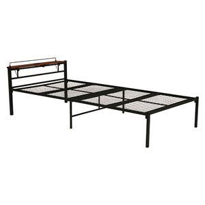 宮付き シングルベッド (フレームのみ) ブラック 幅99cm 2口コンセント付き 通気性 スチールパイプ製 〔寝室 ベッドルーム〕 - 拡大画像