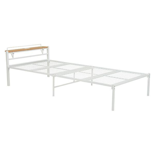 宮付き シングルベッド (フレームのみ) ホワイト 幅99cm 2口コンセント付き 通気性 スチールパイプ製 〔寝室 ベッドルーム〕
