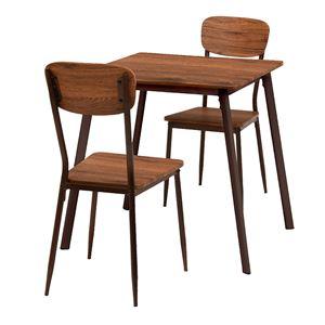 ダイニングテーブル&チェア 3点セット 【テーブル幅70cm ブラウン】 木目調 スチールパイプ 〔リビング 台所〕 - 拡大画像