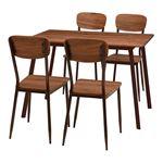 ダイニングテーブル&チェア 5点セット 【テーブル幅110cm ブラウン】 スチールパイプ 〔リビング 台所〕
