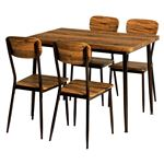 ダイニングテーブル&チェア 5点セット 【テーブル幅105cm ブラウン】 スチールパイプ 〔リビング 台所〕