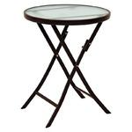 コンパクト 折りたたみテーブル/サイドテーブル 【ブラウン】 直径60×高さ70.5cm スチールパイプ 強化ガラス天板付き