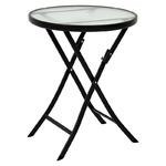 コンパクト 折りたたみテーブル/サイドテーブル 【グレー】 直径60×高さ70.5cm スチールパイプ 強化ガラス天板付き