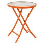 コンパクト 折りたたみテーブル/サイドテーブル 【オレンジ】 直径60×高さ70.5cm スチールパイプ 強化ガラス天板付き