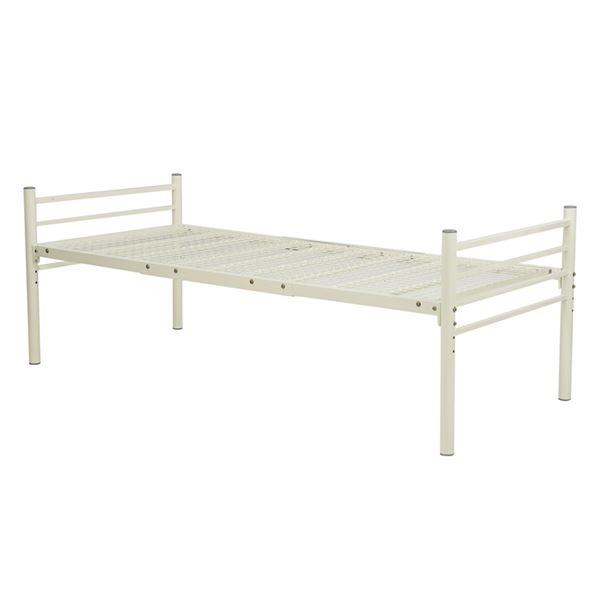 シンプル ロングベッド シングル (フレームのみ) ナチュラルホワイト 幅約100cm 組立式 ベッドフレーム