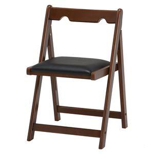 折りたたみ椅子/折り畳み椅子 【ブラウン】 幅40cm 木製 ラバーウッド 〔リビング ダイニング 書斎 勉強部屋〕 - 拡大画像