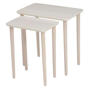 ネストテーブル/サイドテーブル 【ホワイトウォッシュ】 大:約幅40cm 小:約幅30cm 木製 組立品 〔ベッドルーム 寝室〕 - 拡大画像