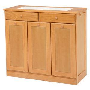 ダストボックス/ゴミ箱 【ナチュラル 25Lペール3個付き】 約幅87cm 木製 キャスター付き 洗える 〔キッチン 台所〕 - 拡大画像
