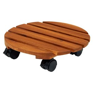 キャスター付き 木製鉢置き/フラワースタンド 【6個セット】 幅30×奥行30×高さ18cm 木製 オイル仕上げ - 拡大画像