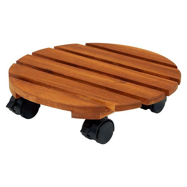 キャスター付き 木製鉢置き/フラワースタンド 【6個セット】 幅30×奥行30×高さ18cm 木製 オイル仕上げ