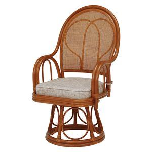 籐回転座椅子 【2台セット】 ハイタイプ ブラウン 幅51×奥行58×高さ89×座面高40cm R045BR - 拡大画像