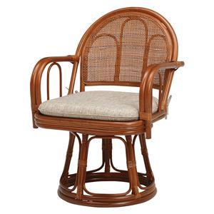 籐回転座椅子 【2台セット】 ハイタイプ ブラウン 幅52×奥行53×高さ75×座面高40cm R943BR - 拡大画像