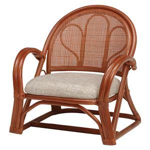 籐楽々座椅子 【2台セット】 ローミドルタイプ ブラウン R671BR - 拡大画像