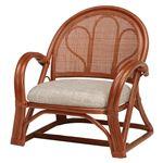 籐製 楽々 座椅子/パーソナルチェア 【ローミドルタイプ 2台セット ブラウン】 約幅54×奥行50×高さ56×座面高26cm 肘付き