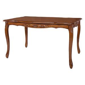 ダイニングテーブル/食卓テーブル 【ブラウン 幅135cm】 木製 組立品 チェア別売 〔リビング ショップ〕 - 拡大画像