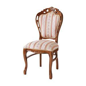 ダイニングチェア/食卓椅子 【ブラウン 幅47×奥行61×高さ100/48cm】 木製脚付き ポリエステル 〔リビング〕 - 拡大画像