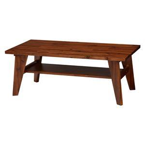 センターテーブル/ローテーブル 【約幅100×奥行50×高さ38cm】 木製 アカシア材 棚板付き 組立品 『umberシリーズ』 - 拡大画像