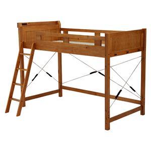 ロフトベッド/寝具 【ライトブラウン 幅106×奥行210×高さ159cm】 木製 〔ベッドルーム 寝室〕 組立品 - 拡大画像