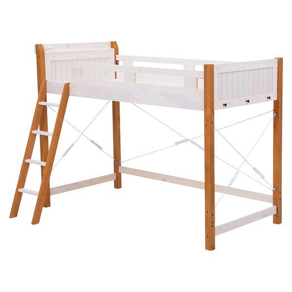 ロフトベッド/寝具 【ホワイト/ライトブラウン 幅106×奥行210×高さ159cm】 木製 〔ベッドルーム 寝室〕 組立品
