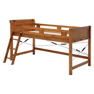 ロフトベッド/寝具 【ブラウン 幅106×奥行210×高さ122cm】 木製 〔ベッドルーム 寝室〕 組立品 - 拡大画像