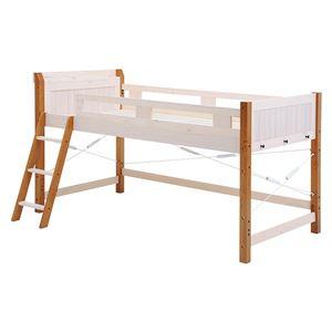ロフトベッド/寝具 【ウォッシュホワイトブラウン 幅106×奥行210×高さ122cm】 木製 〔ベッドルーム 寝室〕 組立品 - 拡大画像