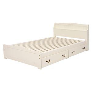 引き出し付 ベッド セミダブルサイズ (フレームのみ) ホワイト 幅124×奥行211×高さ82×床面高31cm 木製 ベッドフレーム 組立品 - 拡大画像