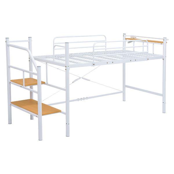 階段ハイベッド/寝具 【ホワイト 高さ131cm 階段2段タイプ】 スチールパイプ 棚板 2口コンセント付き 組立品