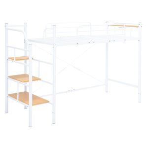 階段ロフトベッド/寝具 【ホワイト 高さ166cm 階段3段タイプ】 スチールパイプ 棚板 2口コンセント付き 組立品 - 拡大画像