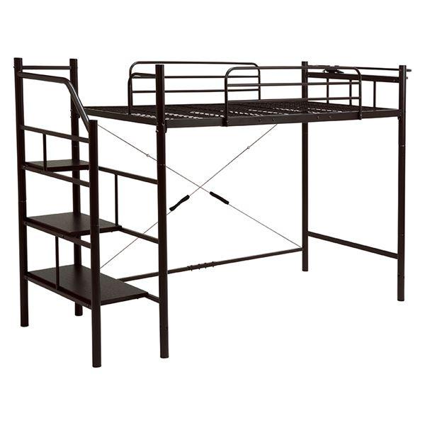 階段ロフトベッド/寝具 【ダークブラウン 高さ166cm 階段3段タイプ】 スチールパイプ 棚板 2口コンセント付き 組立品