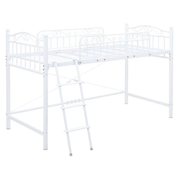 ロフトベッド/寝具 【ホワイト 高さ135cm シングルサイズ】 スチールパイプ 組立品 【ハンガーポール別売】