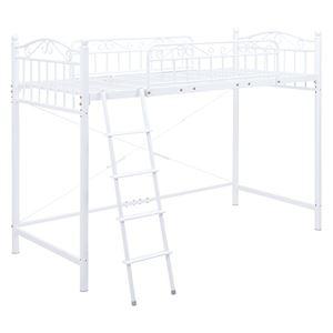 ロフトベッド/寝具 【ホワイト 高さ160cm シングルサイズ】 スチールパイプ 組立品 【ハンガーポール別売】 - 拡大画像