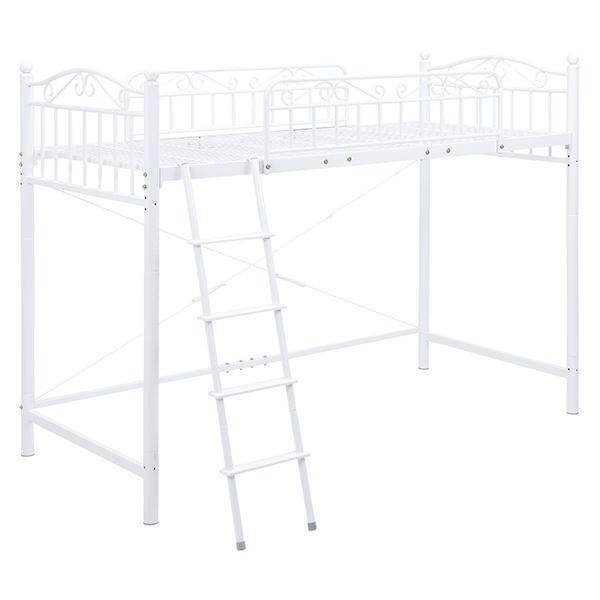 ロフトベッド/寝具 【ホワイト 高さ160cm シングルサイズ】 スチールパイプ 組立品 【ハンガーポール別売】