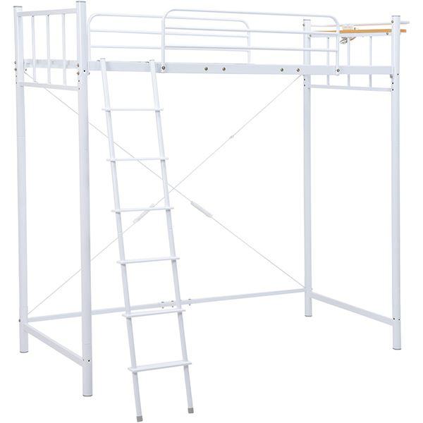ロフトベッド/寝具 【ホワイト 高さ206.5cm シングル】 約幅97cm スチール 組立品 KH-3923WH 【ハンガーポール別売】