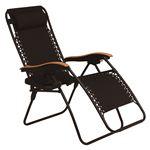 屋外対応 リラックスチェア/折りたたみ椅子 【ブラック 枕付】 約幅80cm リクライニング式 肘付き サイドテーブル付 通気性抜群