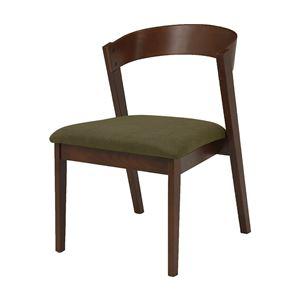 北欧風 ダイニングチェア/食卓椅子 2脚セット 【オリーブグリーン×ダークブラウン】 幅50.5cm 組立品 〔リビング〕 - 拡大画像