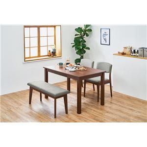 シンプルダイニング 4点組 【テーブル×1 チェア×2 ベンチ×1 ダークブラウン×グレー】 机幅約120cm 引出2杯 組立品 - 拡大画像