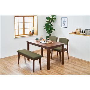 シンプルダイニング 4点組 【テーブル×1 チェア×2 ベンチ×1 ダークブラウン×オリーブグリーン】 机幅約120cm 引出2杯 組立品 - 拡大画像