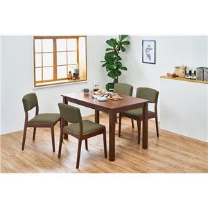 シンプルダイニング 5点組 【テーブル×1 チェア×4 ダークブラウン×オリーブグリーン】 机幅約120cm 引出2杯 組立品 - 拡大画像