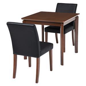 ダイニング 3点セット 【テーブル×1 チェア×2 PVCブラック】 テーブル幅75cm 木製フレーム 組立品 〔リビング〕 - 拡大画像