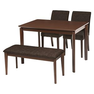 ダイニング 4点セット 【テーブル×1 チェア×2 ベンチ×1 ブラウン】 テーブル幅110cm 木製フレーム 組立品 〔リビング〕 - 拡大画像