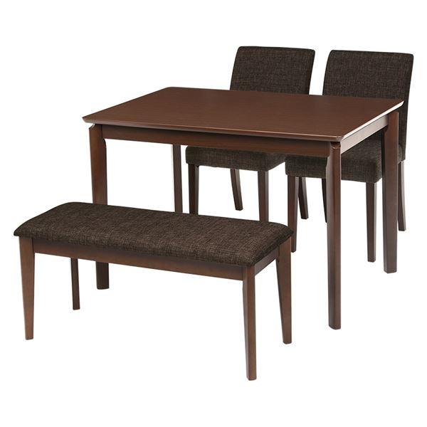 ダイニング 4点セット 【テーブル×1 チェア×2 ベンチ×1 ブラウン】 テーブル幅110cm 木製フレーム 組立品 〔リビング〕