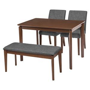 ダイニング 4点セット 【テーブル×1 チェア×2 ベンチ×1 グレー】 テーブル幅110cm 木製フレーム 組立品 〔リビング〕 - 拡大画像