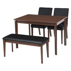 ダイニング 4点セット 【テーブル×1 チェア×2 ベンチ×1 PVCブラック】 テーブル幅110cm 木製フレーム 組立品 〔リビング〕 - 拡大画像