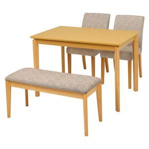 ダイニング 4点セット 【テーブル×1 チェア×2 ベンチ×1 ベージュ】 テーブル幅110cm 木製フレーム 組立品 〔リビング〕 - 拡大画像