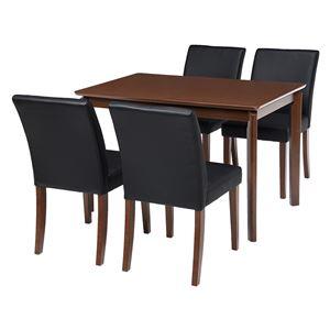 ダイニング 5点セット 【テーブル×1 チェア×4 PVCブラック】 テーブル幅110cm 木製フレーム 組立品 〔リビング〕 - 拡大画像