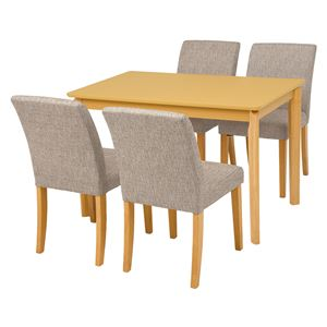ダイニング 5点セット 【テーブル×1 チェア×4 ベージュ】 テーブル幅110cm 木製フレーム 組立品 〔リビング〕 - 拡大画像