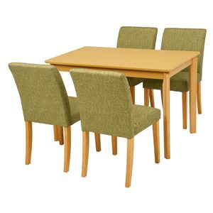 ダイニング 5点セット 【テーブル×1 チェア×4 グリーン】 テーブル幅110cm 木製フレーム 組立品 〔リビング〕 - 拡大画像
