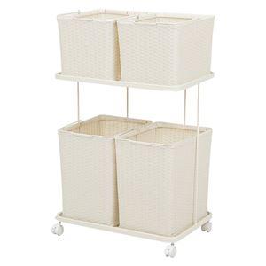 ランドリーラック 【ホワイト】 ランドリー収納 洗濯カゴ チェスト ランドリーボックス 引き出し 白 RAN-2428WH - 拡大画像